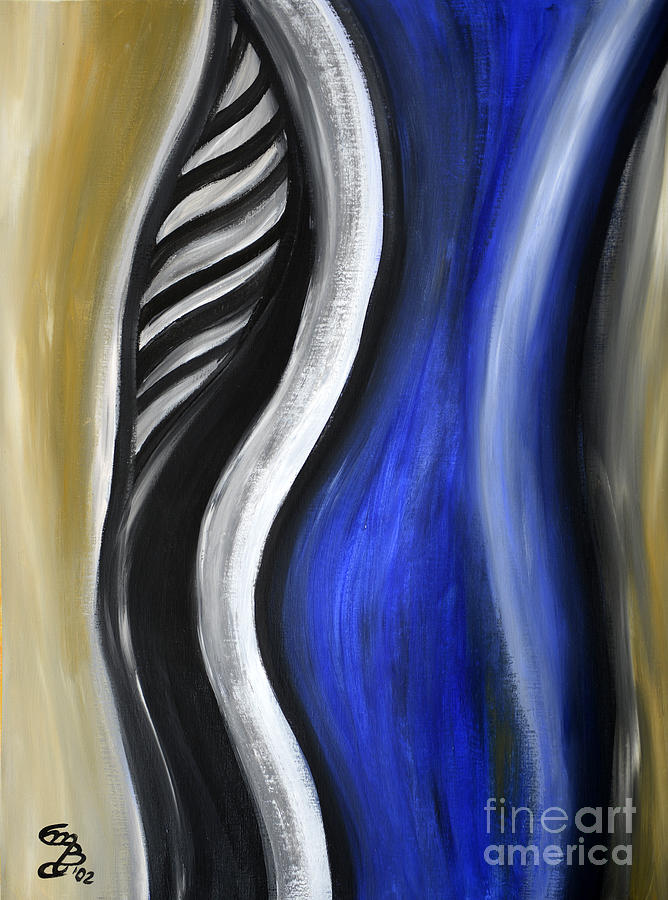 Abstract Painting - Blue Figure by Eva-Maria Becker