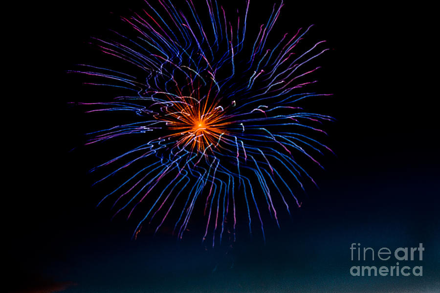 Fireworks Photograph - Blue Firework Flower by Robert Bales