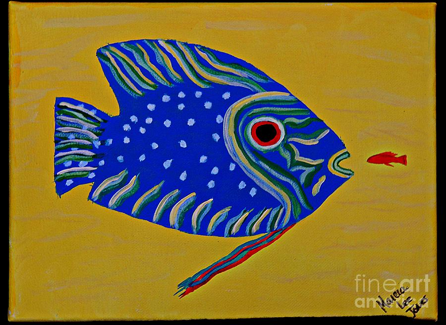 Fauna Painting - Blue Fish by Marcia Lee Jones