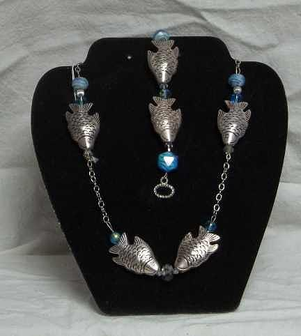 Blue Beads Jewelry - Blue Fish Necklace And Bracelet by Carolyn Kelly