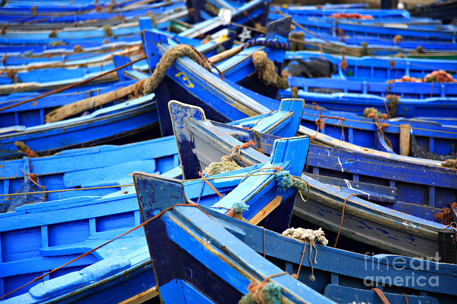 Africa Photograph - Blue Fishing Boats by Deborah Benbrook
