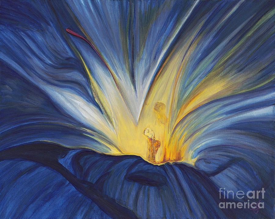 Blue Flower Center Painting - Blue Flower Center by Patty Vicknair