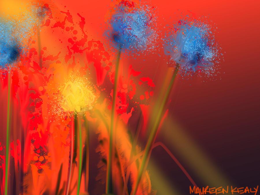 blue flowers on burnt orange painting by maureen kealy. Black Bedroom Furniture Sets. Home Design Ideas
