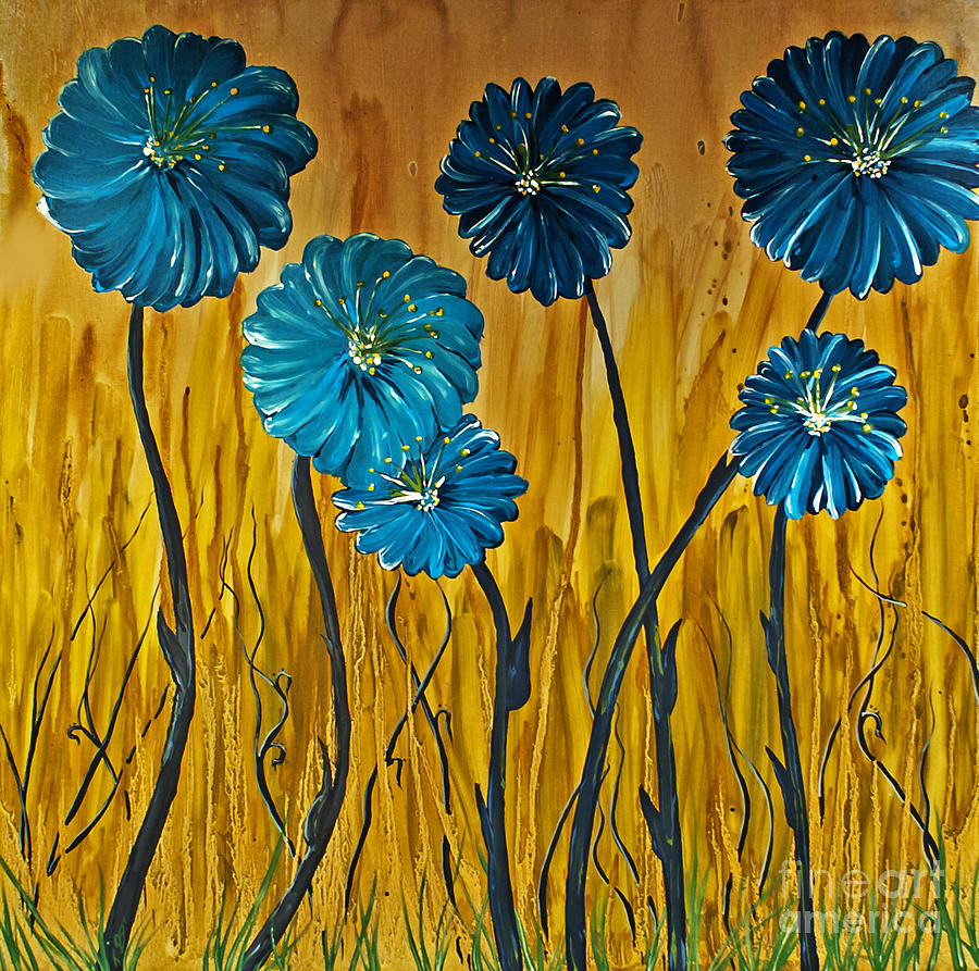 Blue Flowers Painting By Ryan Burton