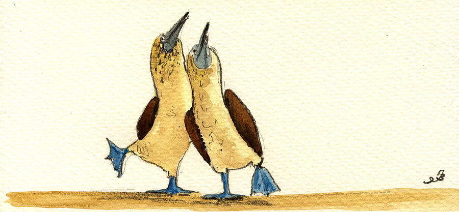 Blue Footed Booby Painting - Blue footed boobies by Juan  Bosco