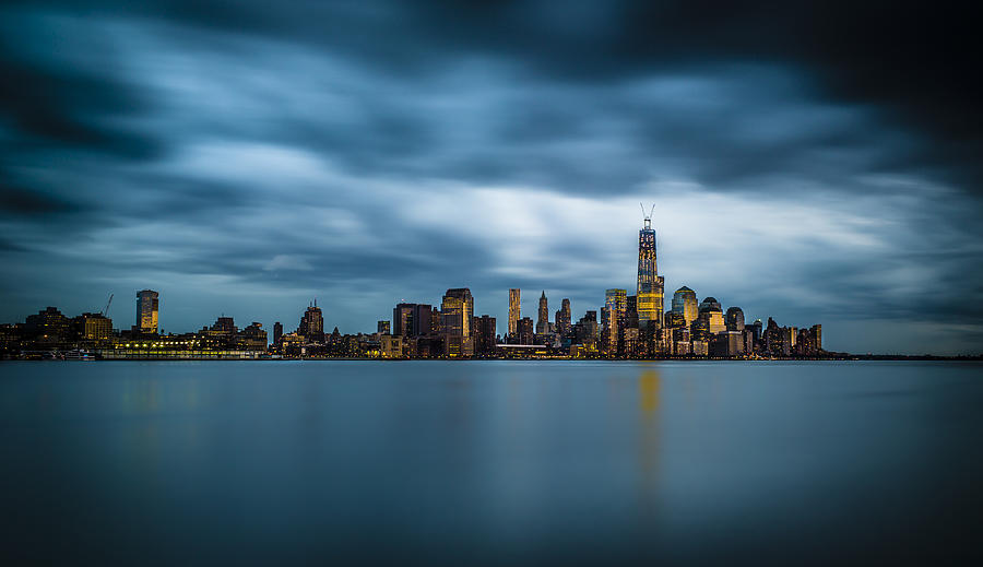 Freedom Photograph - Blue Freedom Tower by Chris Halford