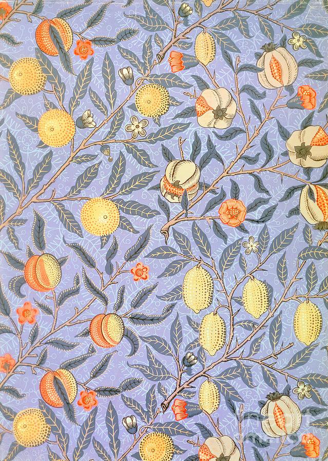 William Morris Drawing - Blue Fruit by William Morris