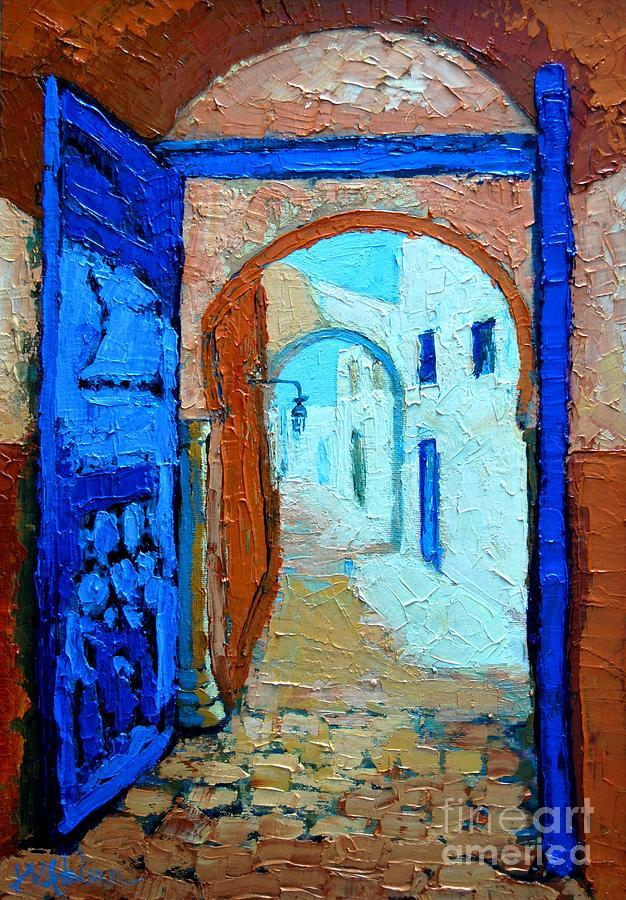 Landscape Painting - Blue Gate by Ana Maria Edulescu