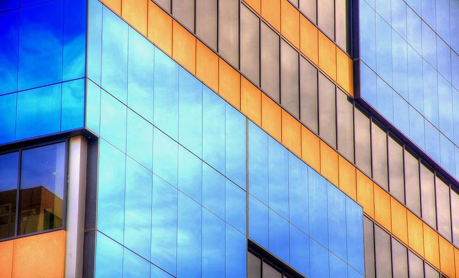 Blue Photograph - Blue Glass Reflections 4999 by Jerry Sodorff