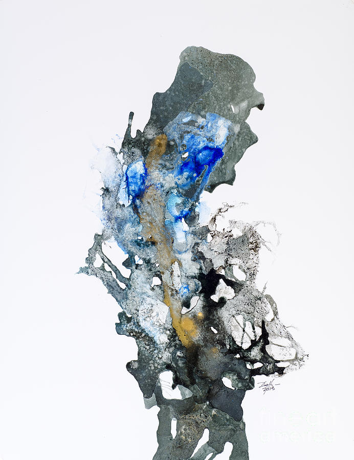 Abstract Painting - Blue-gold 04 by David W Coffin