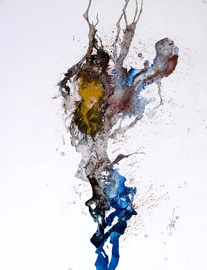 Abstract Painting - Blue-gold 06 by David W Coffin