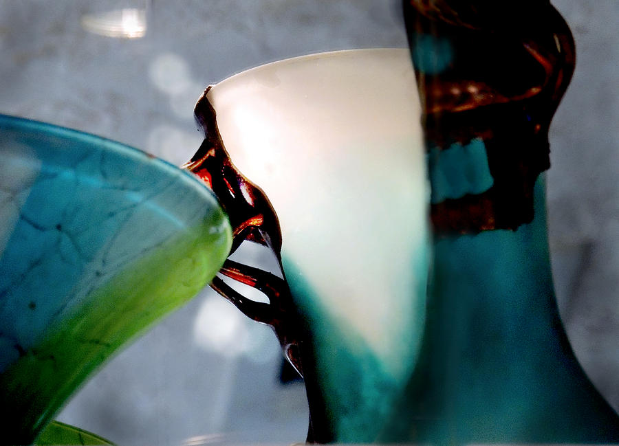 Contemporary Photograph - Blue Green Art Glass 2 by Judy Paleologos