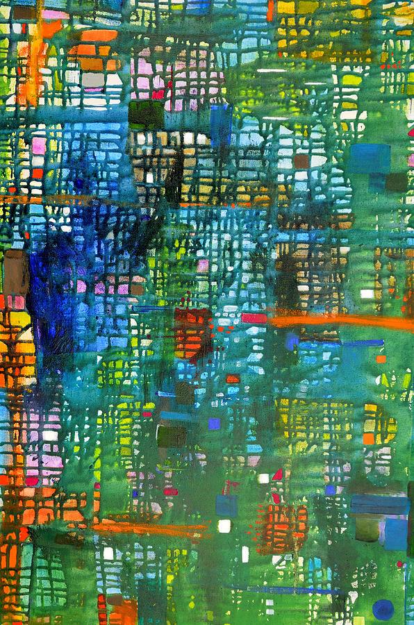 Grid Painting - Blue Green Grid by Regina Valluzzi