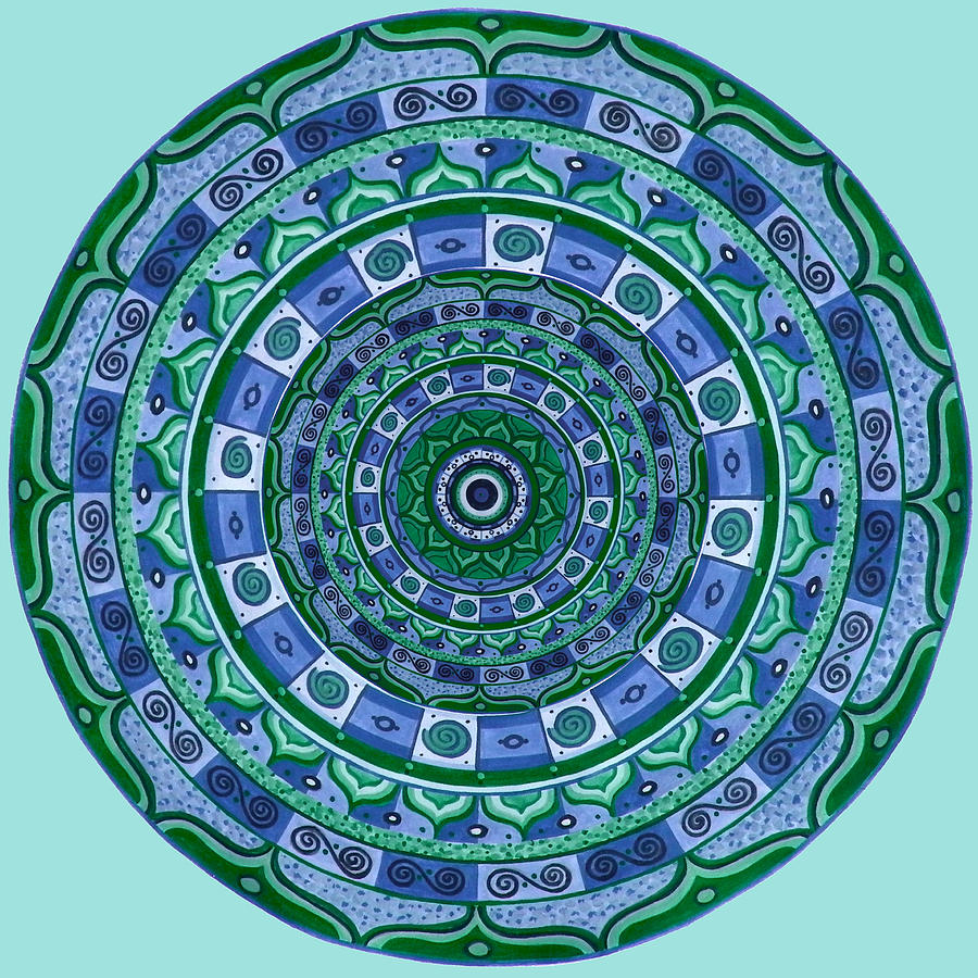 Blue Green Mandala Painting by Vlatka Kelc