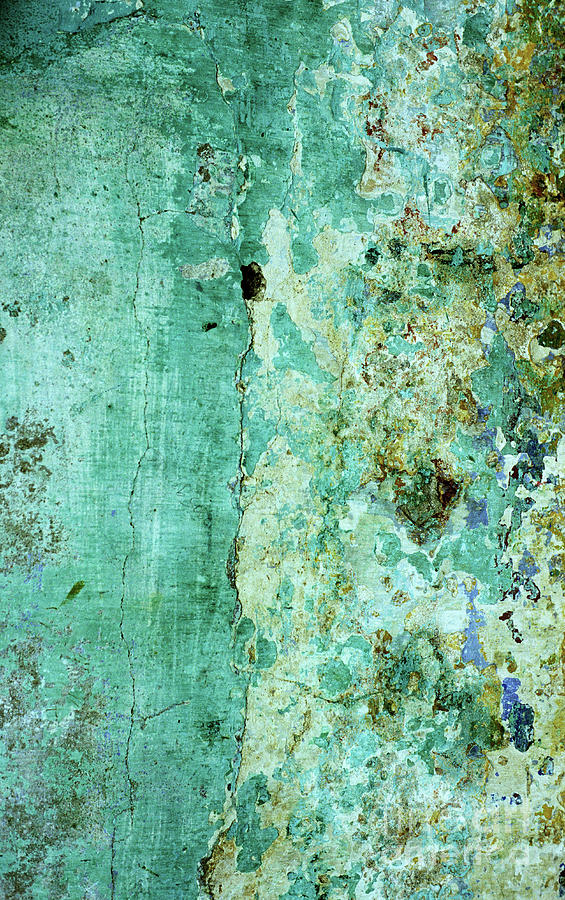 Weathered Photograph - Blue Green Wall by Rick Piper Photography