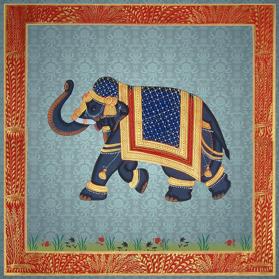 blue grey damaks elephant print digital art by readyforyoga online
