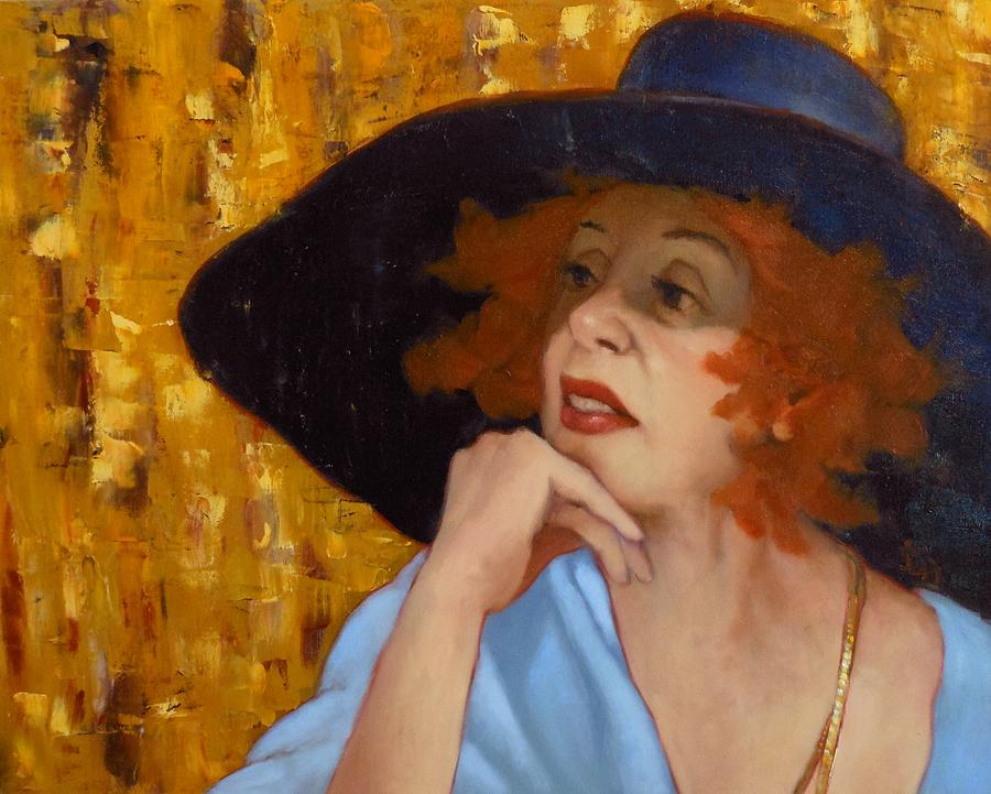 Woman Painting - Blue Hat by Deborah Allison