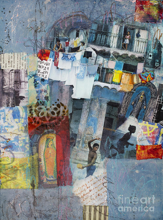 Collage Mixed Media - Blue Havana by Elena Nosyreva