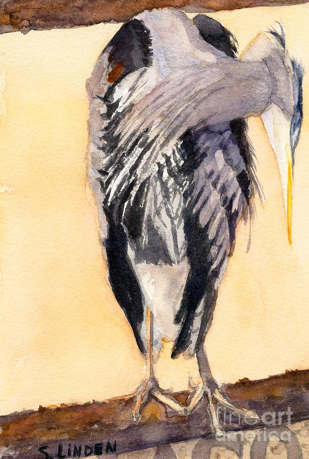 Water Birds Painting - Blue Heron - Left by Sandy Linden