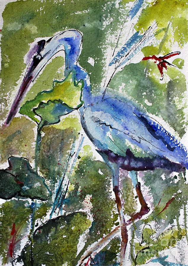 Blue Heron Stalking Watercolor Painting by Ginette Callaway