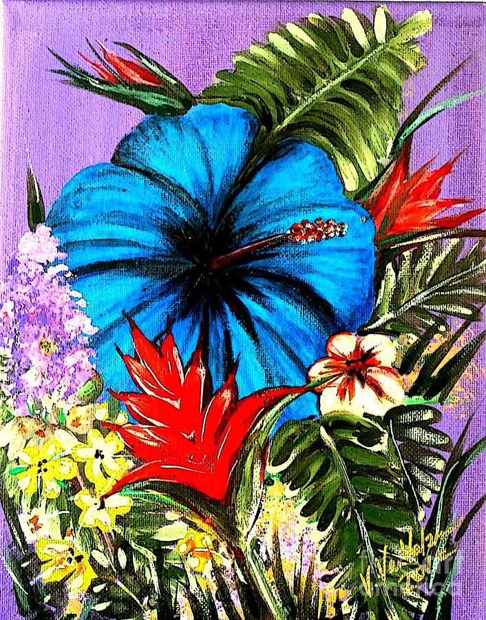 Hawaiian Flowers Painting - Blue Hibiscus by Valarie Pacheco