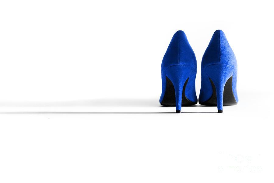 Shoe Photograph - Blue High Heel Shoes by Natalie Kinnear
