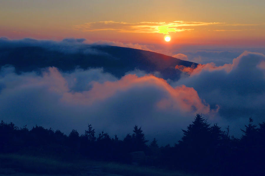 Cadillac Mountain Photograph - Blue Hill Sunset - Acadia by Stephen  Vecchiotti