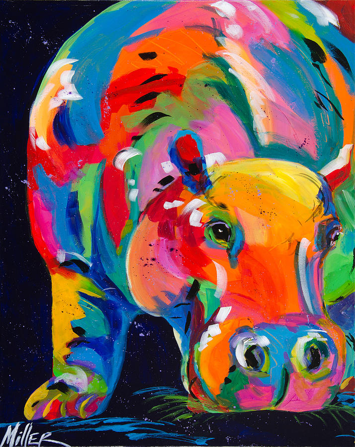 Tracy Miller Painting - Blue Hippo by Tracy Miller
