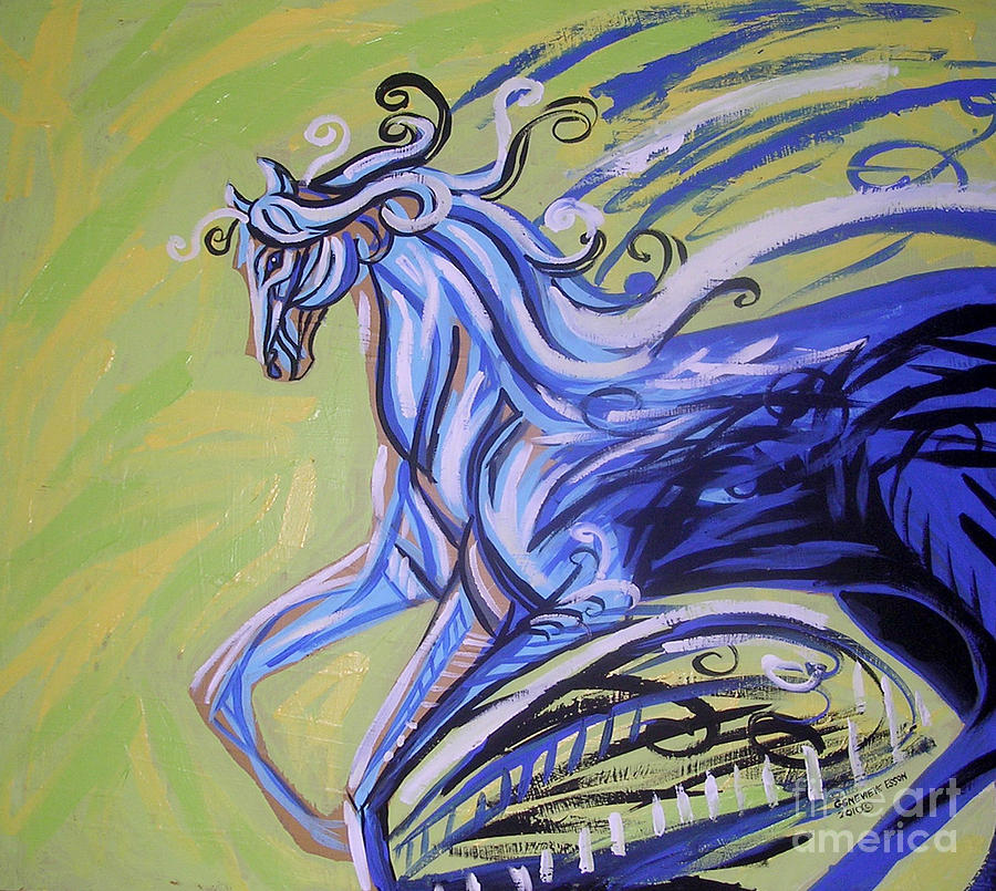 Blue Horse Painting - Blue Horse by Genevieve Esson