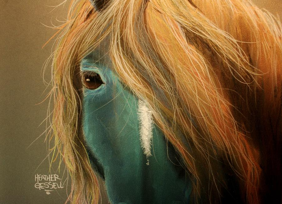 Horse Pastel - Blue Horse by Heather Gessell