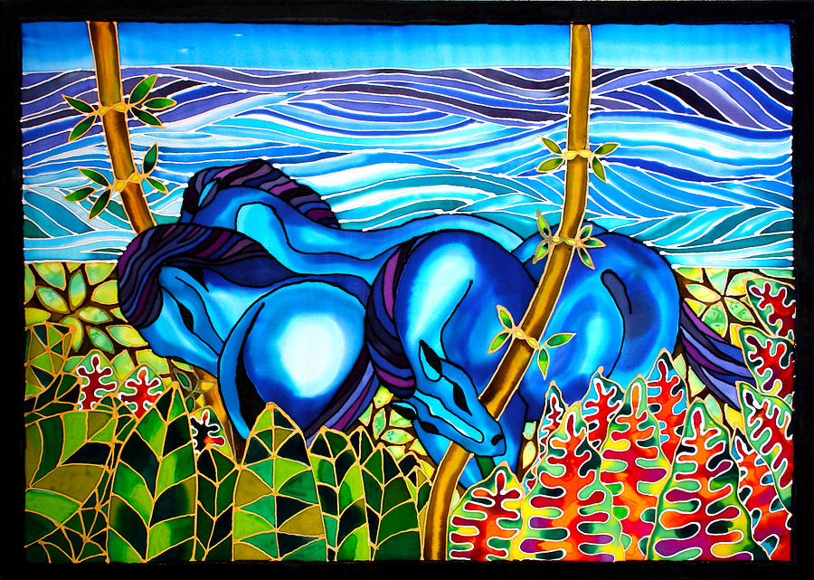 Blue Horses On The Beach Caye Caulker Belize Painting By