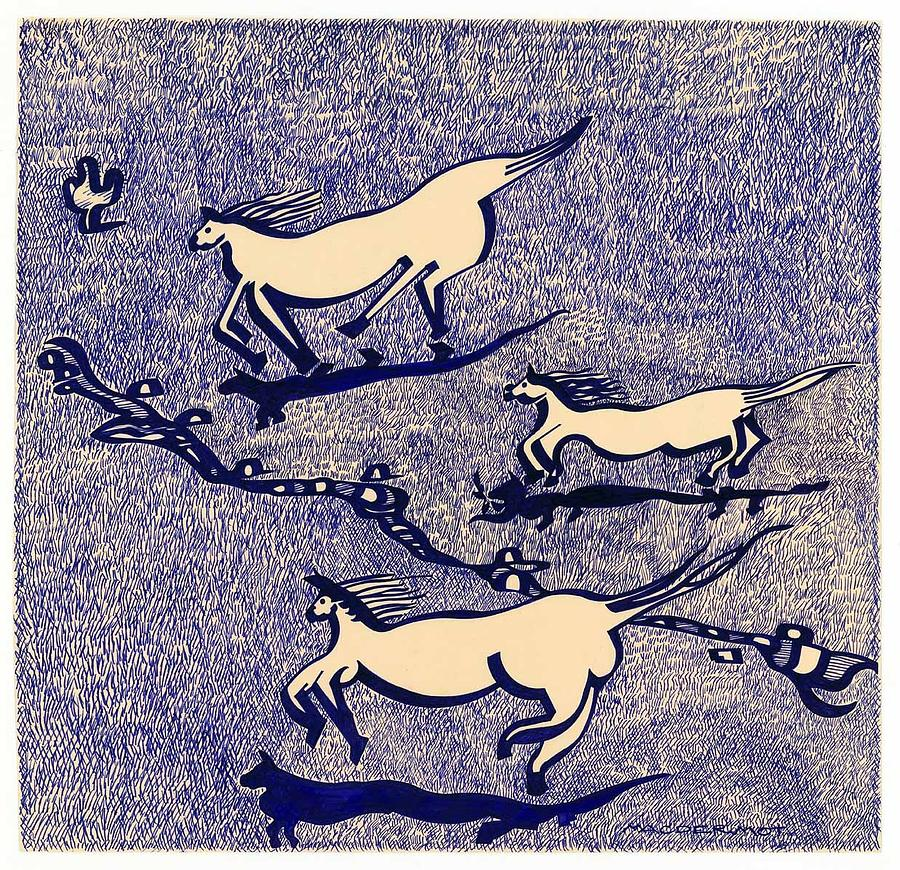 Horses Drawing - Blue Horses by Vince MacDermot