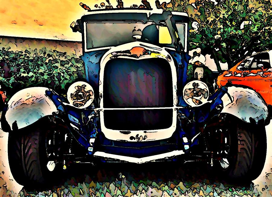 Hot Rod Photograph - Blue Hot Rod by Stanley  Funk