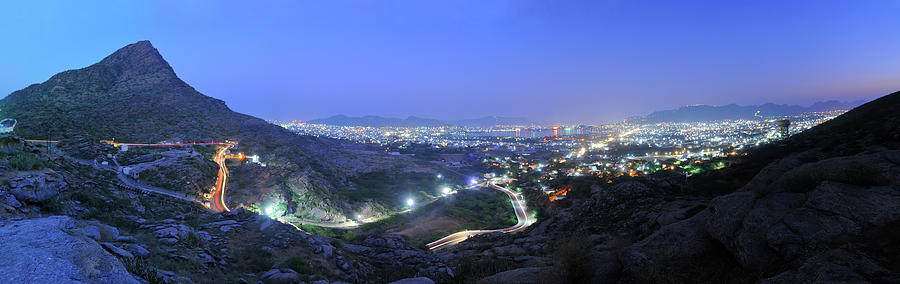 Blue Hour Ajmer City Panorama Photograph by Nimit Nigam