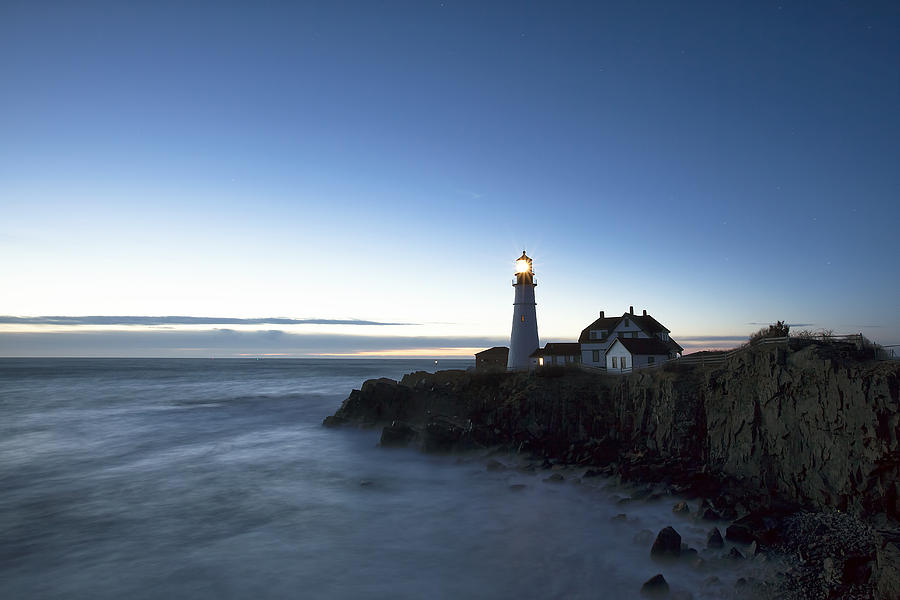 Blue Hour Photograph - Blue Hour At Portland Head by Eric Gendron