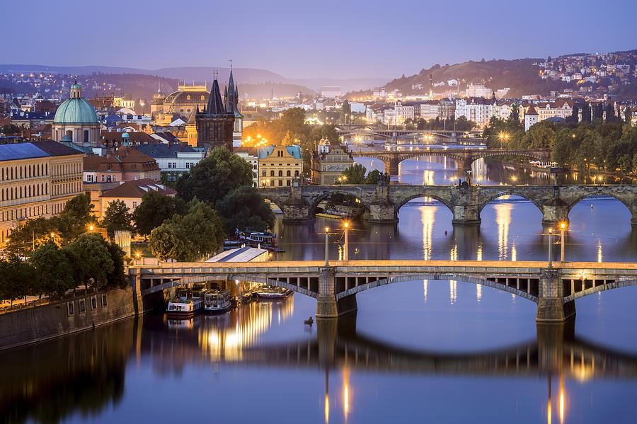 Blue Hour, Bridges, Vltava River, Prague, Czechia Photograph by Joe Daniel Price