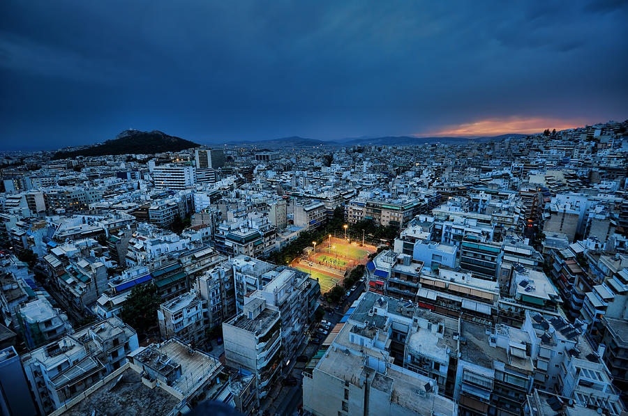 Blue Hour In Athens Photograph by Nemo Galletti