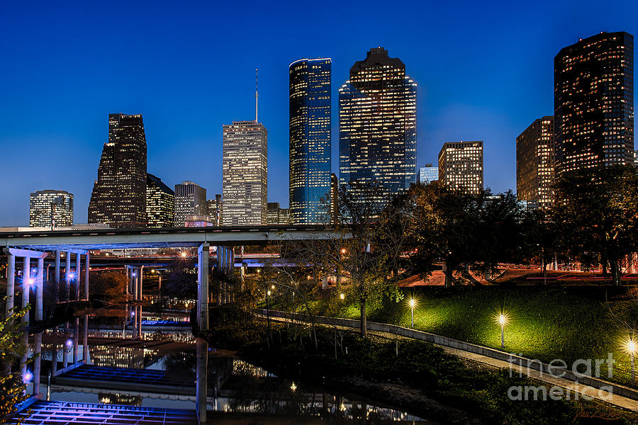 Bank Of America Building Photograph - Blue Hour On Buffalo Bayou by Dee Zunker