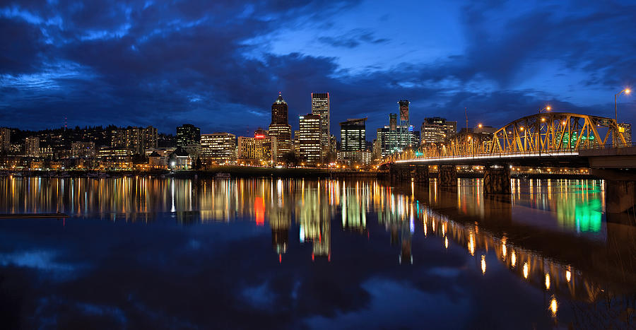 Portland Photograph - Blue Hour Reflection II by David Gn