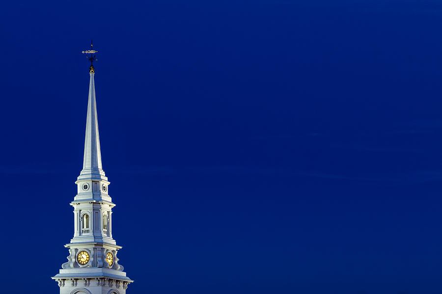4th Of July Photograph - Blue Hour Steeple by Jeff Sinon