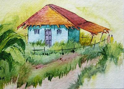 Landscape Painting - Blue House by Deepali Sagade