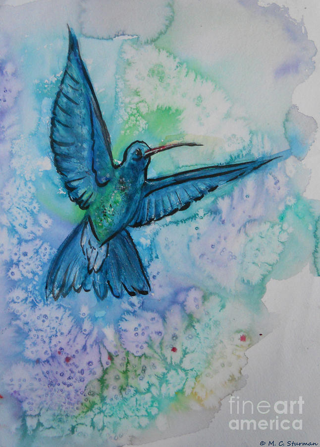 M C Sturman Painting - Blue Hummingbird In Flight by M C Sturman