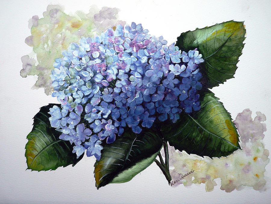Blue Hydrangea Painting by Karin  Dawn Kelshall- Best