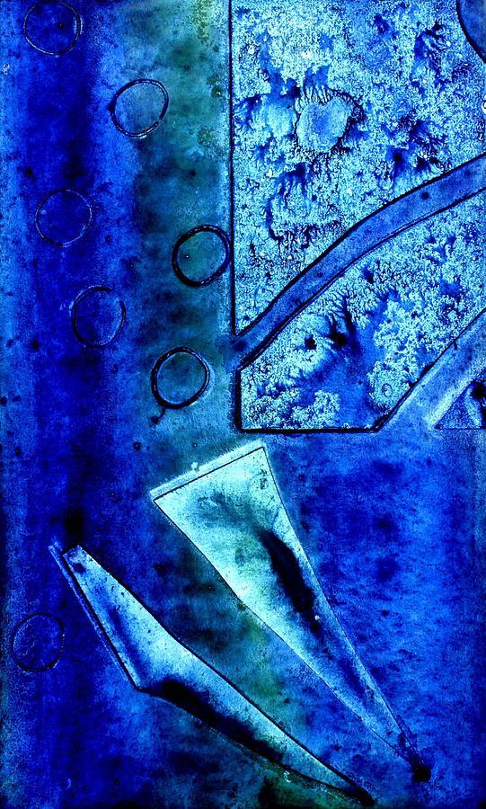 Monoprint Mixed Media - Blue I by John  Nolan