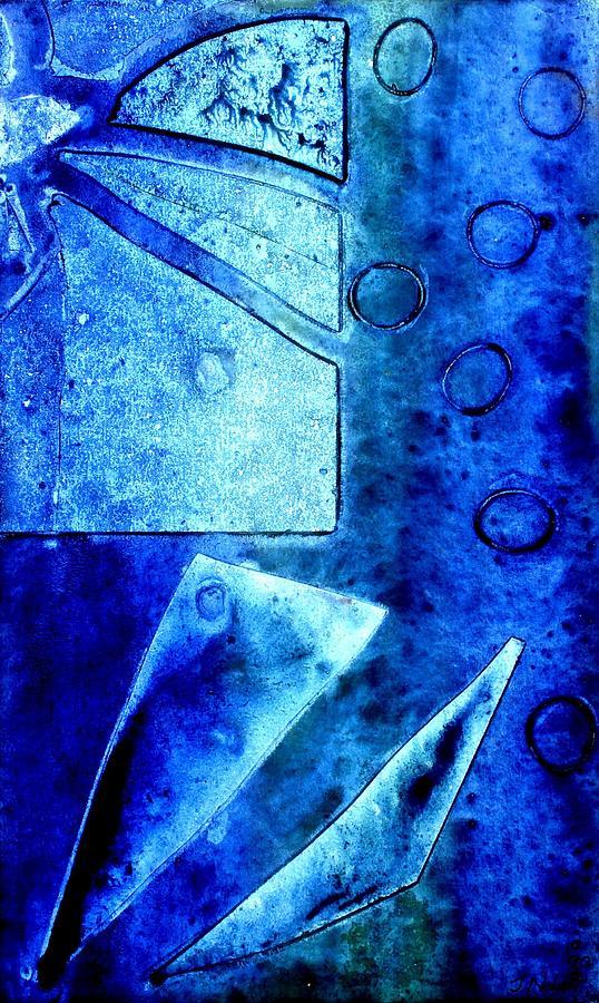 Abstract Mixed Media - Blue   II by John  Nolan