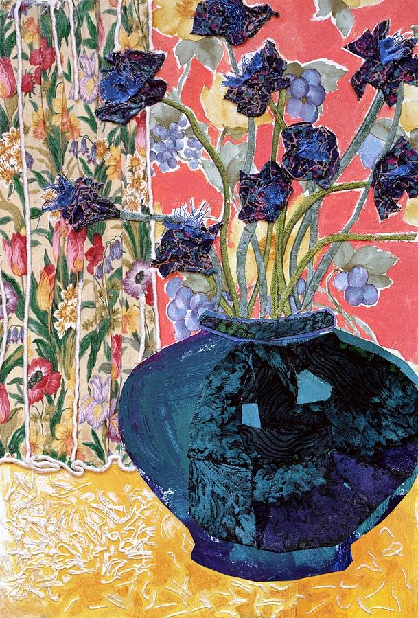 Flowers In A Vase Mixed Media - Blue In Blue by Diane Fine