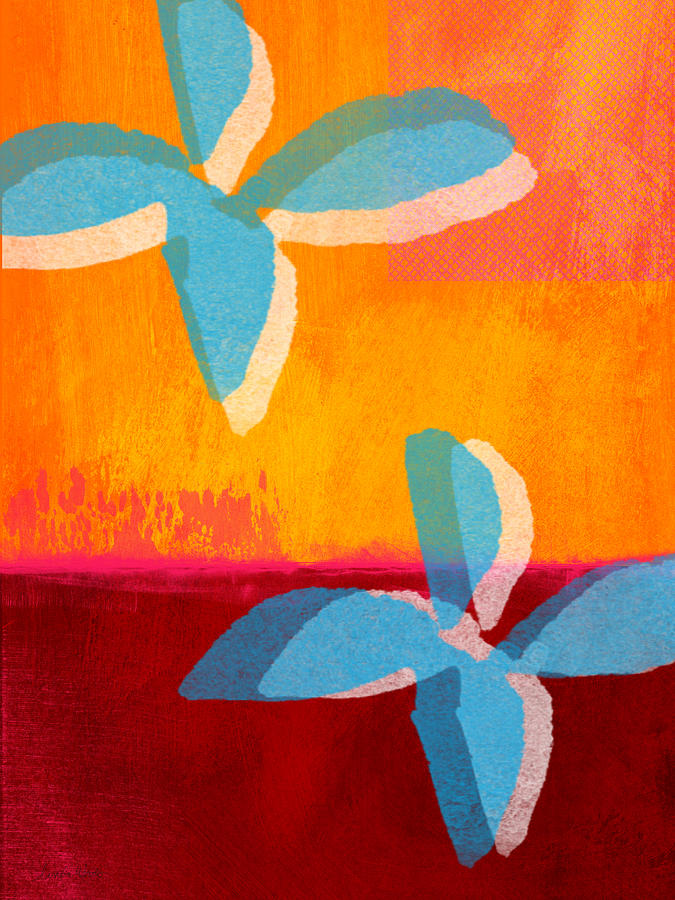 Abstract Floral Painting - Blue Jasmine by Linda Woods