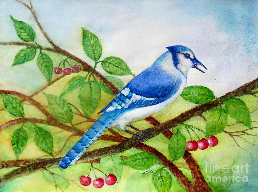 Green Leaves Painting - Blue Jay by Anjali Vaidya