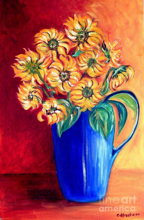 Flowers Painting - Blue Jug Yellow Flowers by Caroline Street