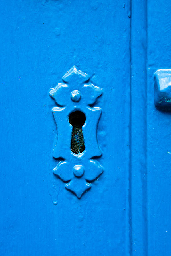 Aged Photograph - Blue Keyhole by Tom Gowanlock